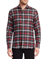 Saks Fifth Avenue Collection Linen Check Shirt - Red