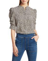 FRAME Leopard Print Puff Sleeve Silk Blouse - Multicolour