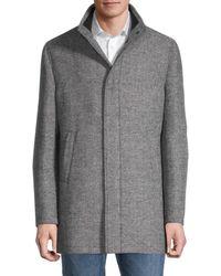 Saks Fifth Avenue Herringbone Zip Coat - Grey