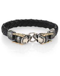 King Baby Studio Men's Braided Leather & Sterling Silver Winged Skull Bracelet - Metallic