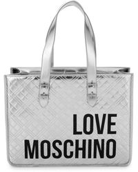 Love Moschino Women's Metallic Quilted Logo Tote - Silver