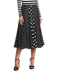 Michael Kors Women's Contrast Polka Dot Dance Skirt - Black White - Size 4