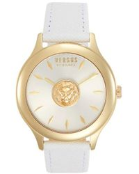 Versus Goldtone Stainless Steel & Leather-strap Watch - White