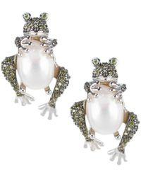CZ by Kenneth Jay Lane Women's Animal Trend Rhodium-plated, 13mm X 10mm Pearl & Crystal Frog Earrings - Metallic