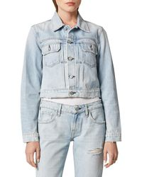 Hudson Jeans Women's Lola Shrunken Denim Trucker Jacket - Out Numbered - Size L - Blue
