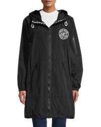 DKNY Women's Logo Stretch Rain Jacket - Black - Size Xl