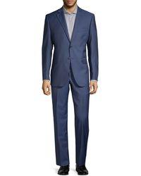 Saks Fifth Avenue Two-piece Slim-fit Wool Silk Herringbone Suit - Blue
