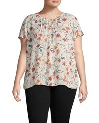 Cece Plus Floral-print Short Sleeve Top - Multicolour