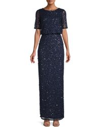 Adrianna Papell Embellished Blouson Gown - Blue