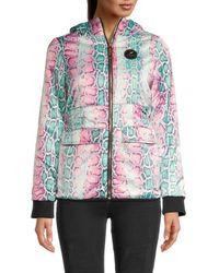 Roberto Cavalli Women's Padded Snake-print Jacket - Size M - Multicolour