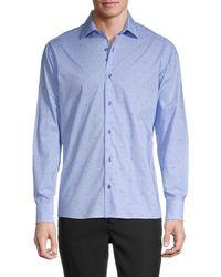 Bertigo Poplin-print Long-sleeve Shirt - Blue