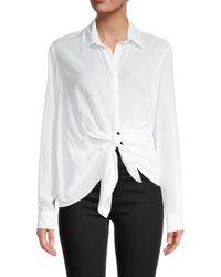 AllSaints Women's Sirena Front-tie Shirt - Chalk White - Size S