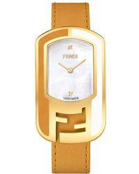 Fendi - Chameleon Diamond Goldtone Leather Strap Watch - Lyst