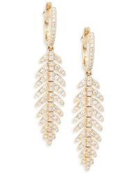 Effy Women's 14k Yellow Gold & Diamond Feather Drop Earrings - Metallic