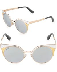 Jimmy Choo 51mm Ora Round Enamel Sugnlasses - Black