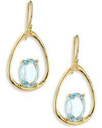 Ippolita Rock Candy® Small Blue Topaz & 18k Yellow Gold Oval Earrings - Metallic