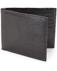 Saks Fifth Avenue Textured Lizard Bi-fold Wallet - Black