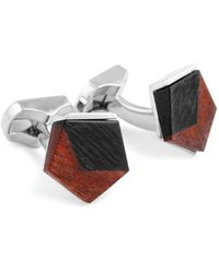 Ermenegildo Zegna Men's Frame Square Fibre Optic Glass & Rhodium Cufflinks - Multicolour