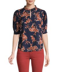 Tommy Hilfiger Floral Puff-sleeve Top - Multicolor