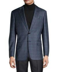 Armani Men's Standard-fit Virgin Wool & Cashmere Check Sportcoat - Grey - Size 50 (40) R