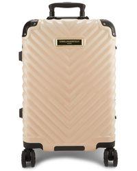 Karl Lagerfeld Women's Georgette Chevron Hard Shell Luggage - Blush - Multicolor
