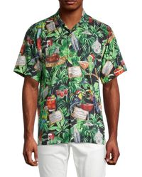 Tommy Bahama Men's The 12 Drinks Of Parrots Tropical Button Down Shirt - Green Multi - Size M
