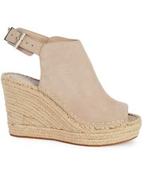 Kenneth Cole Owen Suede Espadrille Wedge Slingback Sandals - Natural