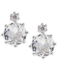 CZ by Kenneth Jay Lane Women's Look Of Real Rhodium-plated & Crystal Round Stud Earrings - Metallic