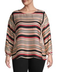 Vince Camuto Women's Plus Striped Long-sleeve Top - Apricot Cream - Size 1x (14-16) - Multicolor