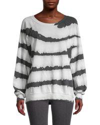 Wildfox Women's Printed Cotton-blend Sweatshirt - Zebra Dye - Size Xs - Grey