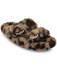 J/Slides Bree Leopard-print Faux Fur Slides - Brown