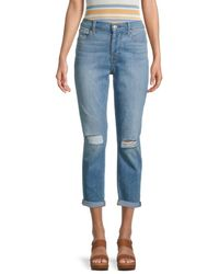 7 For All Mankind Josefina Ripped Cropped Jeans - Blue