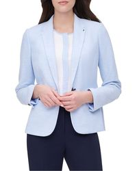 Tommy Hilfiger Textured Elbow Patch One-button Jacket - Blue