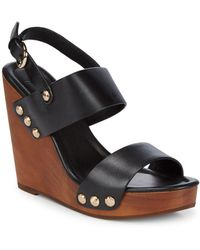 Joie - Talia Leather Wedge Sandals - Lyst