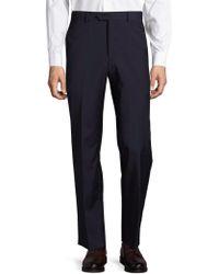 Saks Fifth Avenue Solid Wool Dress Pants - Blue