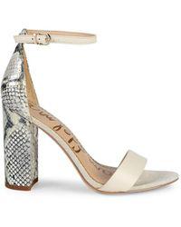 Sam Edelman Yaro Ankle-strap Snake-embossed Leather Sandals - White