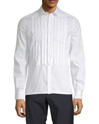 Valentino - Pintuck Cotton Button-down Shirt - Lyst