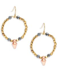 Vanessa Mooney - Goldplated & Faceted Copped Beaded Hoop Earrings/1?? - Lyst