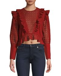 Robert Rodriguez Charlotte Eyelet Lace Blouse - Red