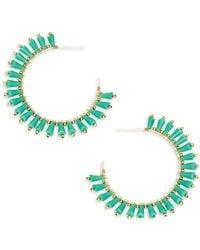 Panacea Beaded Hoop Earrings - Green