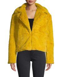 C&C California Faux Fur-trim Notch Lapel Jacket - Pink