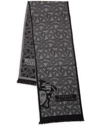 Versace Logo Print Wool-blend Scarf - Gray