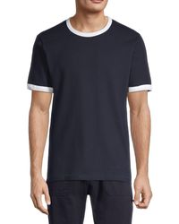 French Connection Textured Cotton Tee - Blue