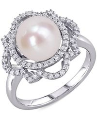 Saks Fifth Avenue Women's 14k White Gold, 9-9.5mm Cultured Freshwater Pearl & Diamond Solitaire Ring/size 9 - Size 9 - Metallic