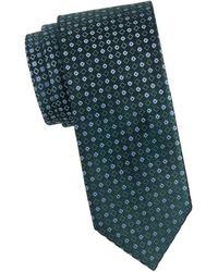 Brioni Silk Geometric Tie - Blue
