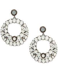 Bavna - Champagne Diamond, Aquamarine & Sterling Silver Drop Earrings - Lyst
