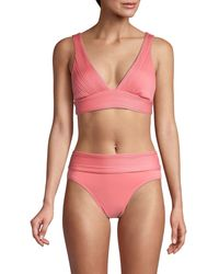 Robin Piccone Lily V-neck Bikini Top - Pink