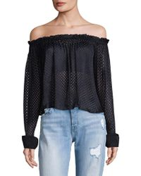 Saloni - Long Sleeve Off-the-shoulder Top - Lyst