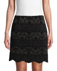 Laundry by Shelli Segal Graphic Flocked Skirt - Black