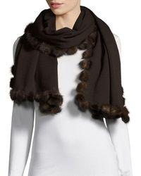 La Fiorentina Women's Dyed Mink Fur Scarf - Black